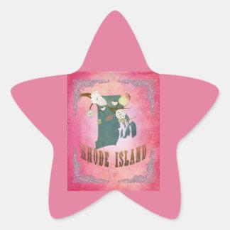 Modern Vintage Rhode Island State Map- Candy Pink Star Sticker