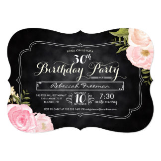 Modern Vintage Roses Chalkboard Birthday Party Card