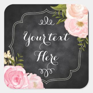 Modern Vintage Roses Chalkboard Custom Favor Square Sticker