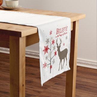 modern vintage rustic deer and snowflakes short table runner
