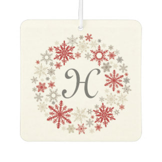 Modern vintage rustic snowflake wreath |monogram