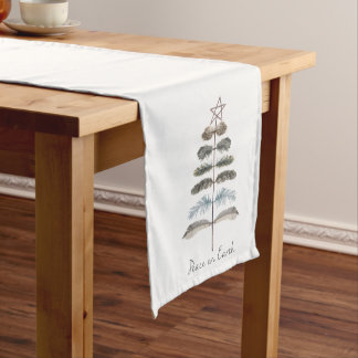 modern vintage rustic winter feather tree short table runner