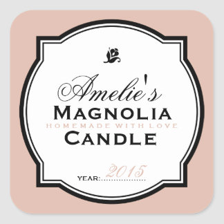 MODERN VINTAGE SALMON | PERSONALIZED SOAP CANDLE SQUARE STICKER