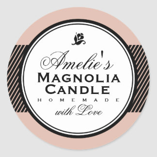 MODERN VINTAGE SALMON | SOAP & CANDLE LABEL ROUND STICKER