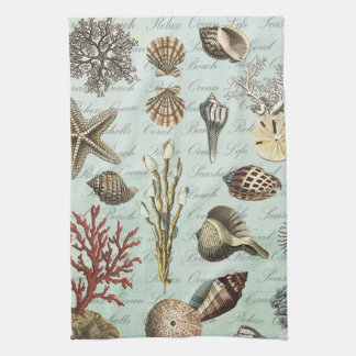 Modern Vintage Seashells Tea Towel