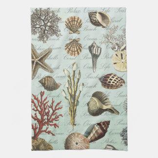 Modern Vintage Seashells Tea Towels