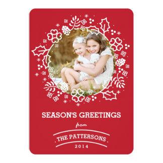 Modern Vintage Season's Greetings Photo Card   Red 13 Cm X 18 Cm Invitation Card