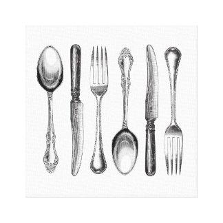 modern vintage silverware canvas print