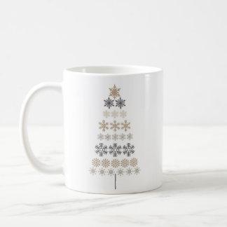 modern vintage snowflake Christmas tree Mugs