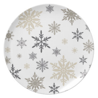 modern vintage snowflakes party plate