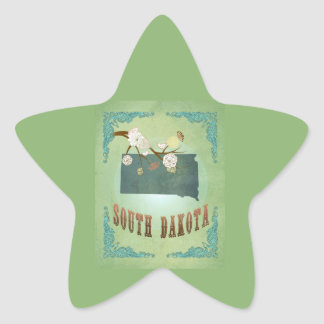 Modern Vintage South Dakota State Map – Sage Green Star Sticker