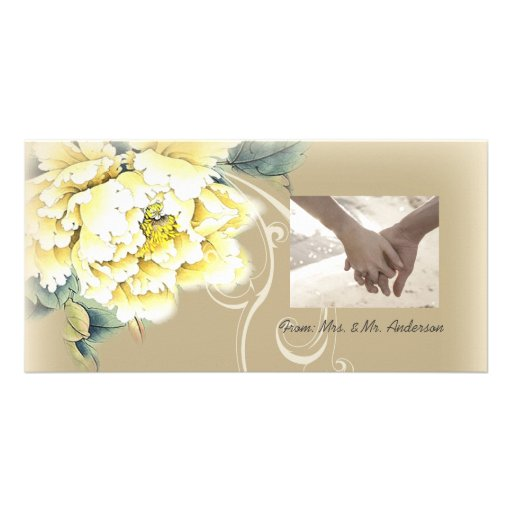 modern  vintage spring floral wedding thank you photo card template