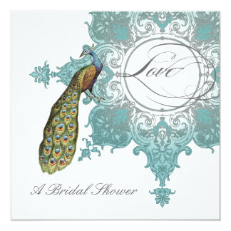 Modern Vintage Swirl Baroque Peacock Bridal Shower Card