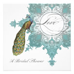 Modern Vintage Swirl Baroque Peacock Bridal Shower Personalized Announcement