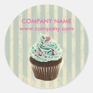 modern vintage teal  bakery dessert cupcake round sticker
