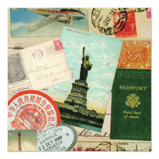 modern vintage travel collage card