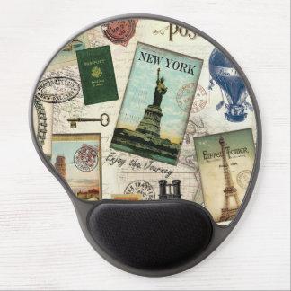 modern vintage travel collage gel mouse pad