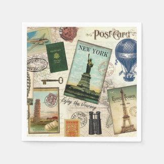 modern vintage travel collage paper napkins
