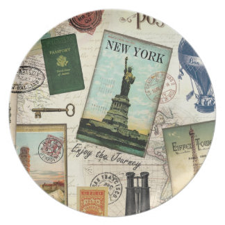 modern vintage travel collage party plates