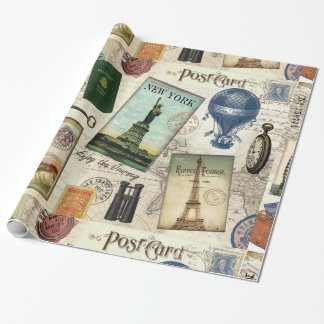 modern vintage travel collage gift wrapping paper