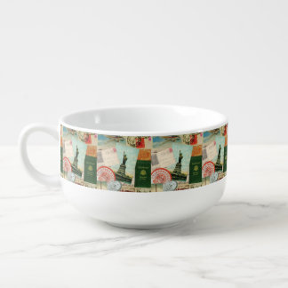 modern vintage travel collage soup bowl with handle