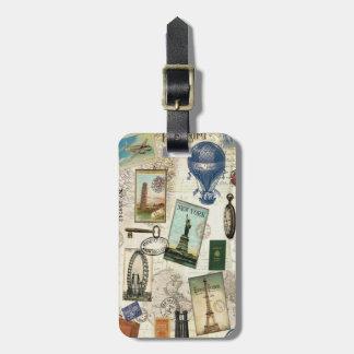 modern vintage travel luggage tag