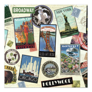 Modern Vintage Travel USA 13 Cm X 13 Cm Square Invitation Card