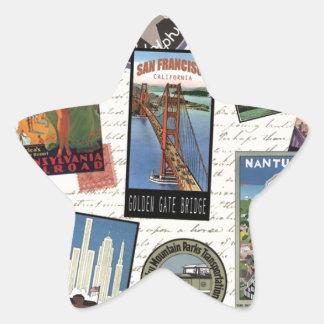 modern vintage travel USA Star Sticker