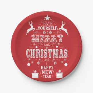 modern vintage typography christmas tree 7 inch paper plate