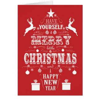modern vintage typography christmas tree card