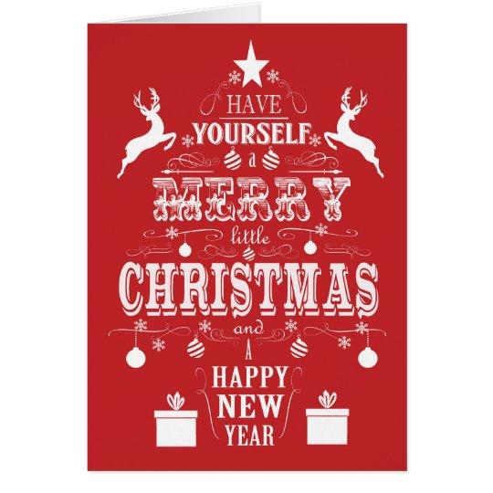 modern vintage typography christmas tree card