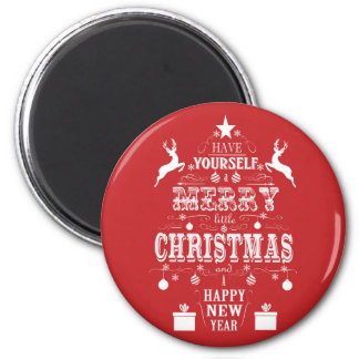 modern vintage typography christmas tree refrigerator magnets