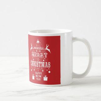 modern vintage typography christmas tree coffee mug