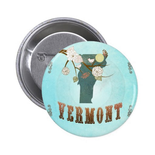Modern Vintage Vermont State Map – Aqua Blue Pinback Buttons