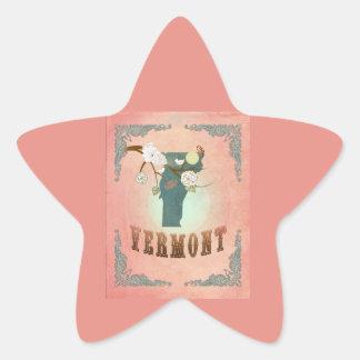 Modern Vintage Vermont State Map- Pastel Peach Star Sticker