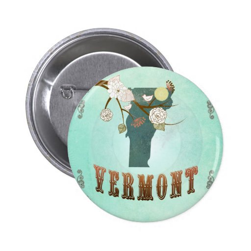 Modern Vintage Vermont State Map – Turquoise Blue Buttons
