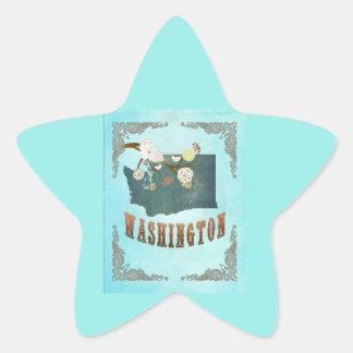 Modern Vintage Washington as State Map – Aqua Blue Star Sticker