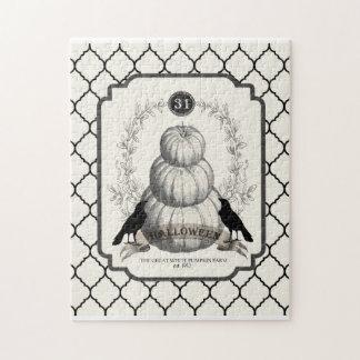 modern vintage white pumpkins puzzles