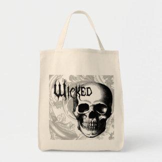 modern vintage wicked skull head canvas bags