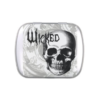 modern vintage wicked skull head jelly belly candy tins