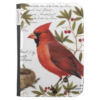 modern vintage winter cardinal kindle folio cases