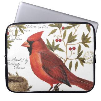 modern vintage winter cardinal laptop computer sleeves