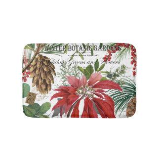 Modern vintage winter garden floral bath mat