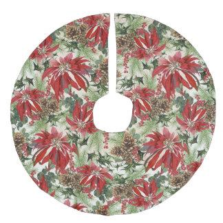 Modern vintage winter garden floral faux linen tree skirt