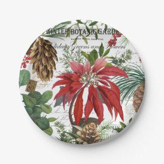 Modern vintage winter garden floral paper plate