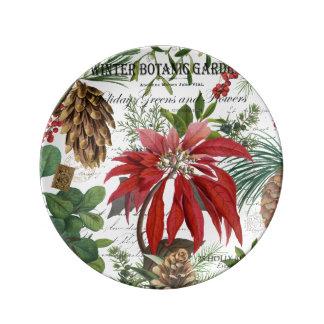 Modern vintage winter garden floral plate