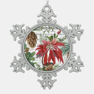 Modern vintage winter garden floral snowflake pewter christmas ornament