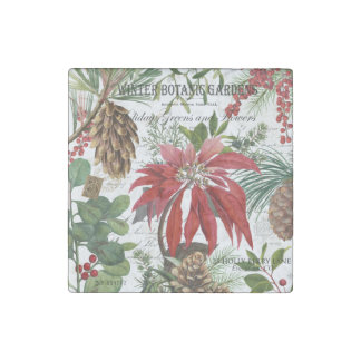 Modern vintage winter garden floral stone magnet