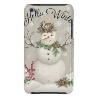 modern vintage winter garden snowman barely there iPod case