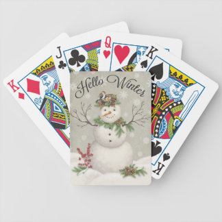 modern vintage winter garden snowman bicycle playing cards